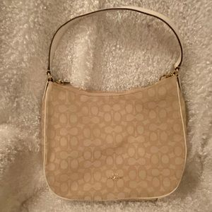 NWT coach signature cream handbag